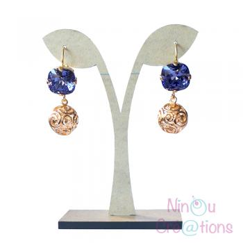 Swarovski Elements and Flash gold Earrings