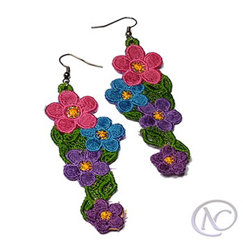 Machine embroidered Earrings