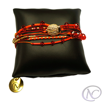 Bracelet cordons, Orange et rouge