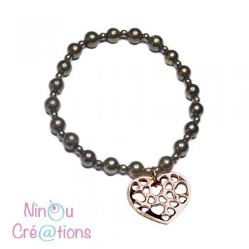 Bracelet Pyrite et coeur en flash or