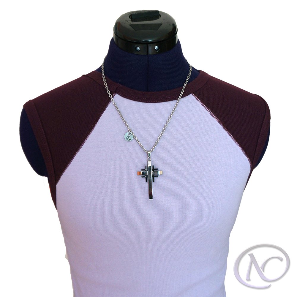 Collar Collar de acero inoxidable con cruz