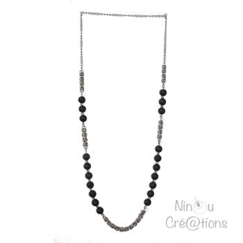 Steel & Lava Bead Long necklace