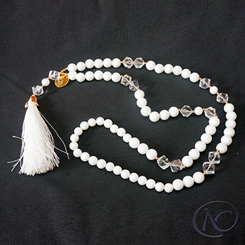 White boho Long necklace