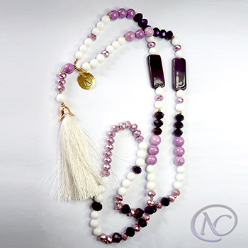 White & purple boho Long necklace