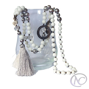 White & grey boho Long necklace