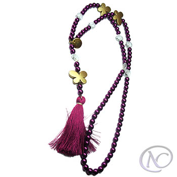 Red fuchsia boho Long necklace