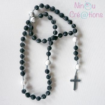 Lava bead and howlite Rosary